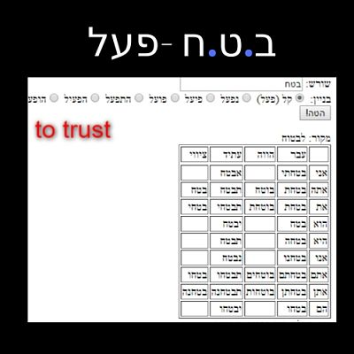 The Hebrew root ב.ט.ח in the verb structure פעל